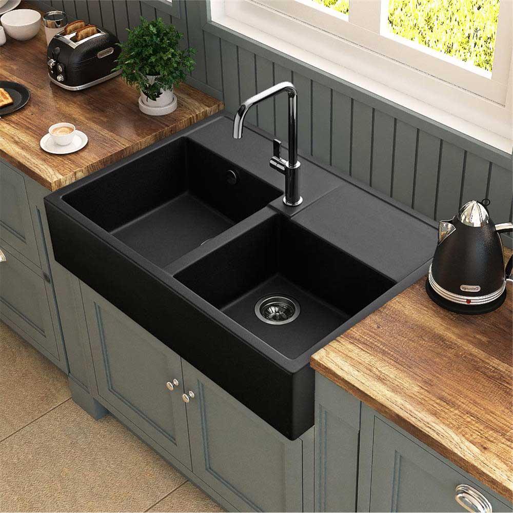 Fregaderos negros para todos los gustos mira c mo queda for Encimera de cocina lacada en blanco negro