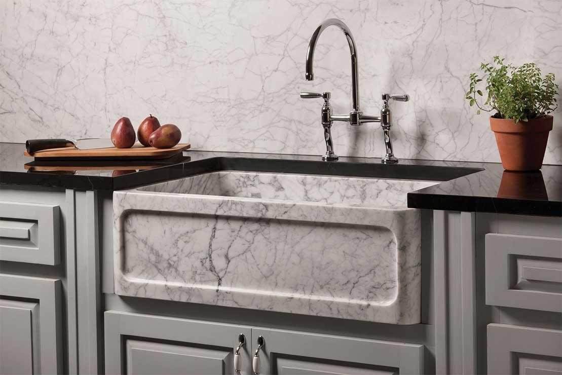 Fregaderos de piedra r sticos de gran belleza en los acabados - Fregadero marmol ...